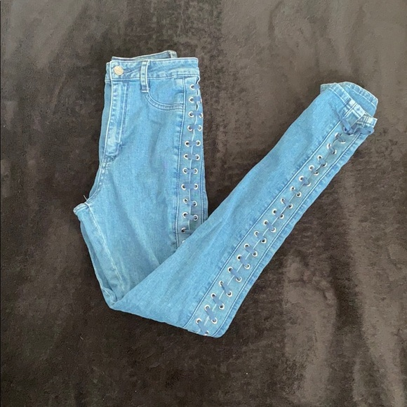 Denim laced up mud rise jeans